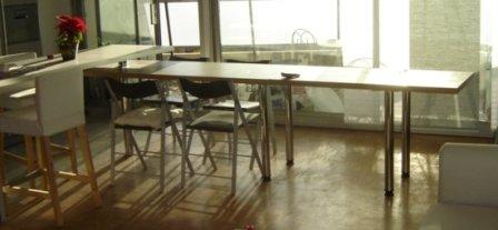 Plan de travail pivotant modulable famille matheron for Plan de travail avec table coulissante